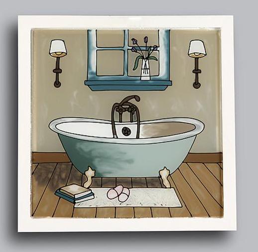 Espejos y cuadros cuadro ba o cristal ba era grif - Cuadros cuarto de bano ...