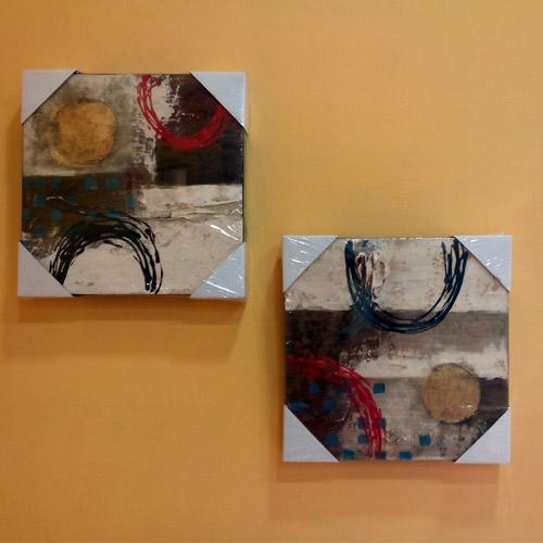 Cuadros y perchas pareja cuadros abstractos marrones for Imagenes de cuadros abstractos para pintar