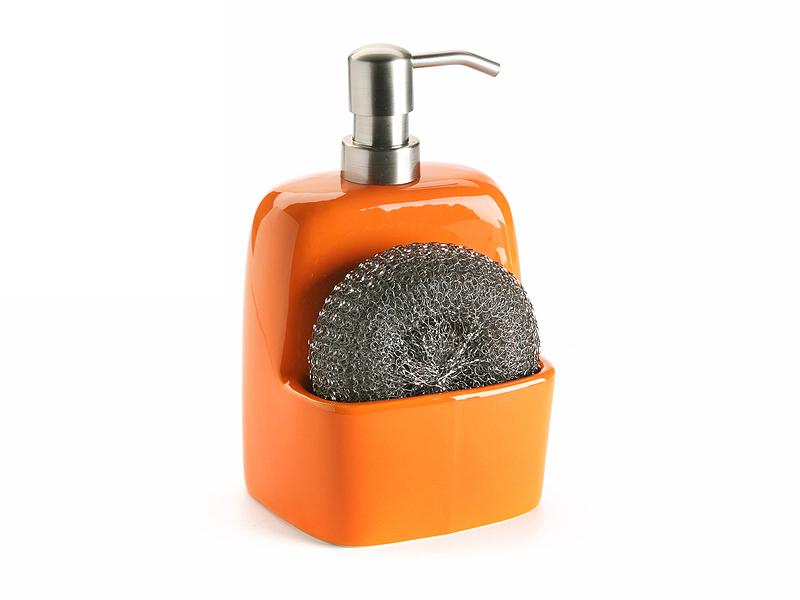 Dosificadores y estropajeros dosificador cocina naranja - Dispensador jabon cocina encastrado ...