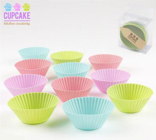 Utensilios cocina jgo 12 moldes cupcakes silicona - Moldes cupcakes silicona ...