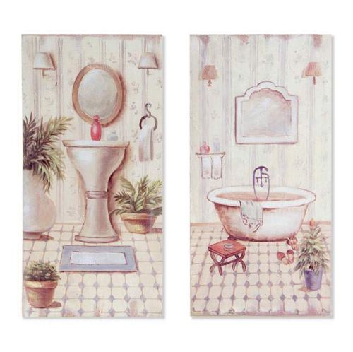 Espejos y cuadros pareja cuadros ba o vert tatamba - Cuadros para decorar el bano ...