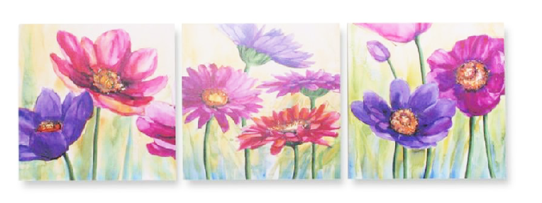 Cuadros y perchas set 3 cuadros flores for Cuadros al oleo para decorar salones